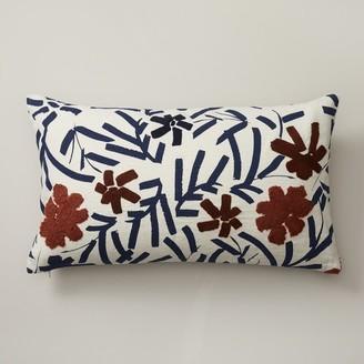 "Oui Brushstroke Floral Lumbar Pillow Cover Indigo Blue 12"" X 21"""