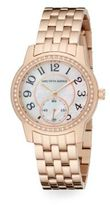 Saks Fifth Avenue Mother-Of-Pearl, Pav? Crystal & Rose Goldtone Stainless Steel Watch