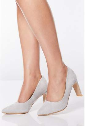 Quiz Silver Shimmer Faux Suede Point Court Shoes