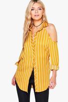 Boohoo Summer Cold Shoulder Striped Shirt
