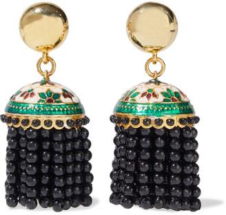 Oscar de la Renta Gold-tone, Enamel And Bead Tassel Clip Earrings