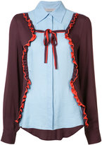 Preen Line panelled ruffle trim shirt
