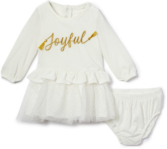 Baby Starters Girls' Special Occasion Dresses Ivory - Ivory 'Joyful' Drop-Waist Dress & Bloomers - Infant