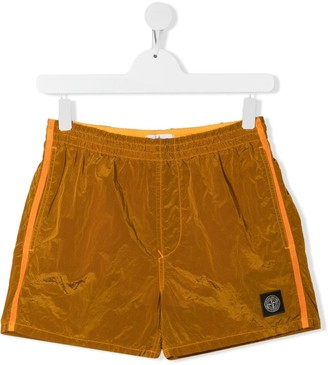 Stone Island Junior Logo-Patch Detail Shorts