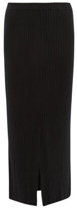 Allude Slit-hem Ribbed Cashmere Skirt - Womens - Black