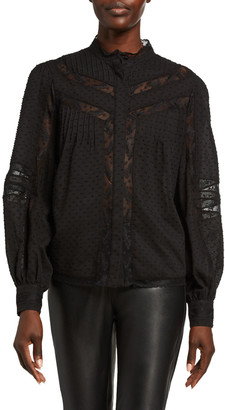 Joie Nazly Button-Front Lace-Inset Blouse