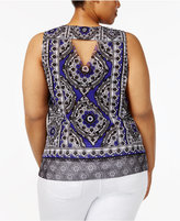 INC International Concepts Plus Size Printed Cutout-Back Top, Created for Macy's