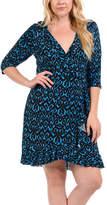 Bellino Blue & Black Damask Ruffled V-Neck Dress - Plus
