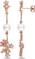 Laura Ashley Cultured Pearl and 2/7 CT TW Sapphire Rose Silver Dangle Earrings