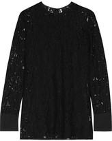 Lanvin Crepe De Chine-trimmed Corded Lace Top - Black