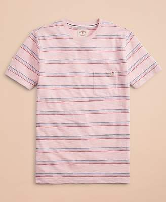 Brooks Brothers Multi-Color Stripe Slub Jersey Pocket T-Shirt