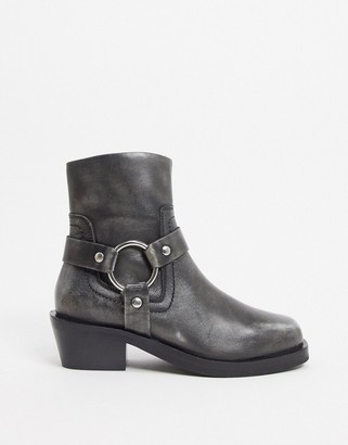 ASOS DESIGN Authentic premium leather western boots with harness