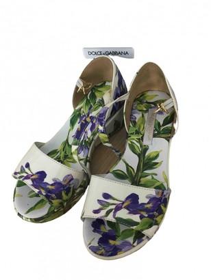 Dolce & Gabbana White Leather Sandals