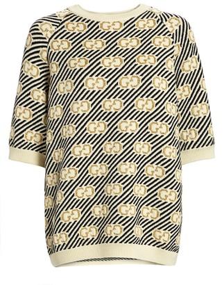 Gucci GG Lurex Jacquard Short-Sleeve Wool Knit Sweater