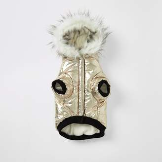 River Island Womens Gold RI faux fur hood dog puffer jacket