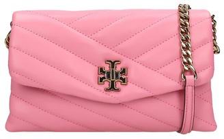 Tory Burch Kira Chevron Shoulder Bag In Rose-pink Leather