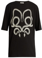 Saint Laurent Serpent-print cotton T-shirt