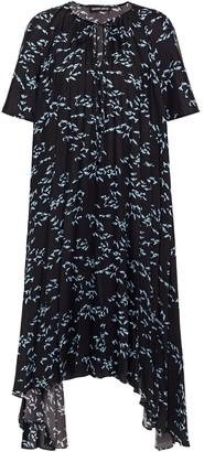 Markus Lupfer Naomi Asymmetric Printed Plisse Crepe De Chine Dress