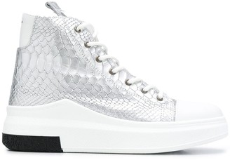 Cinzia Araia Metallic Snake Embossed Sneakers