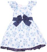 Children's Apparel Network White & Navy Floral Flutter-Sleeve Dress - Toddler & Girls