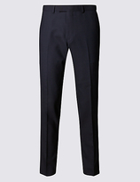 M&s Collection Luxury Big & Tall Navy Slim Fit Wool Trousers