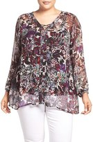 Lucky Brand Plus Size Women's Sheer Floral Print Lace-Up Peasant Blouse