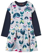 Catimini Grey Flower Print Dress with Navy Tee Set