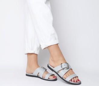 Office Samara Buckle Cross Strap Sandals Grey Leather