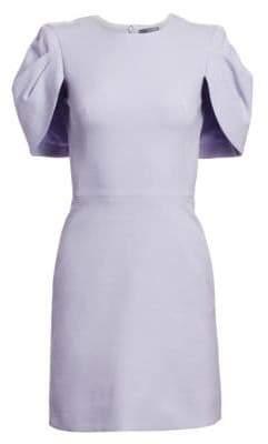 Alexander McQueen Women's Ruffle Cape Sleeve Dress - Lilac - Size 44 (8)