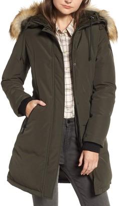 Sam Edelman Faux Fur Trim Hooded Down Jacket
