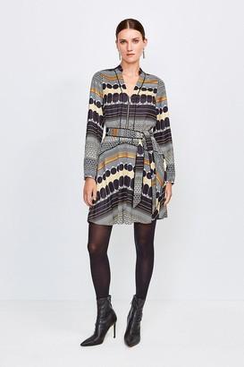 Karen Millen Geo Stripe Belted Dress