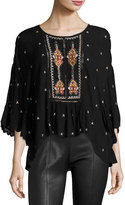 Velvet Alasdair Embroidered Top, Black