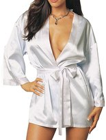 Merssavo Women's Sexy Sleepwear Satin Nightwear Dress Kimono Bath Robe Bridal Lingerie Mother's Day gift