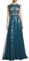 Catherine Deane Harlow High-Neck Sleeveless Lace Evening Gown
