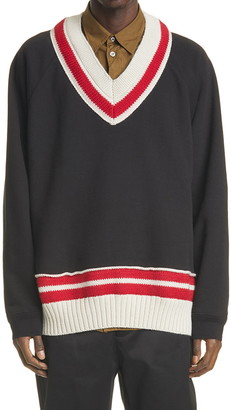 Maison Margiela Knit Trim V-Neck Sweatshirt