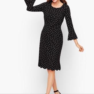 Talbots Dot Scallop Sleeve A-Line Dress