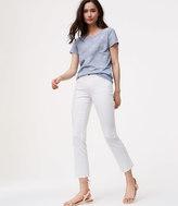 LOFT Petite Modern Fresh Cut Flare Crop Jeans in White