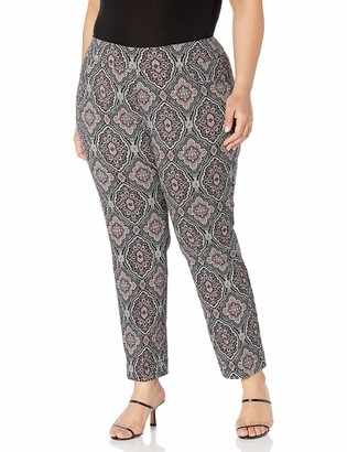 Slim Sation SLIM-SATION Women's Plus Size Wide Band Pull-On Print Ankle Pant