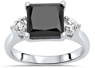 Overstock 14K White Gold 3.35ct Princess Cut Black Diamond 3 Stone Engagement Ring