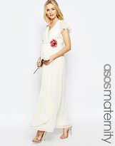 Asos WEDDING Wrap Maxi Dress With Corsage Detail