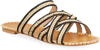 Charles David Stanza Crisscross Straps Raffia Slide Sandals