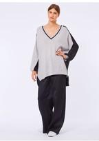 Amanda Wakeley Grey & Black Oversize V-Neck Cashmere Jumper