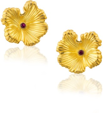 Milou Jewelry Sterling Silver Gold Plated Flower Earrings with Fuchsia Zircon Stone