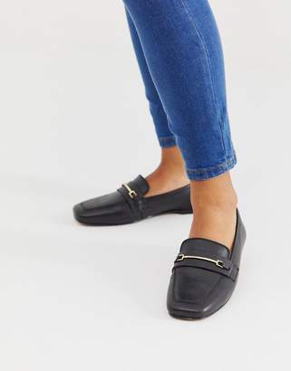 Asos Design DESIGN Mocha square toe leather loafers in black