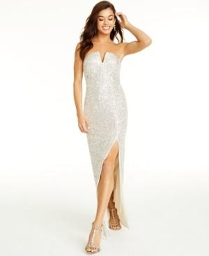 B. Darlin Juniors' Sequin Strapless Gown