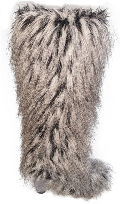 Chanel Grey Faux fur Boots