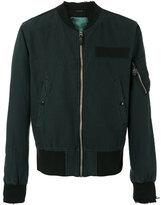 R 13 frayed cuffs bomber jacket - men - Cotton/Hemp/Viscose - L
