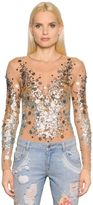 Amen Sequined Tulle Bodysuit