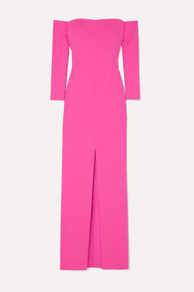 SOLACE London Odine Off-the-shoulder Stretch-crepe Maxi Dress - Fuchsia