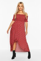 boohoo Plus Ditsy Off Shoulder Maxi Dress